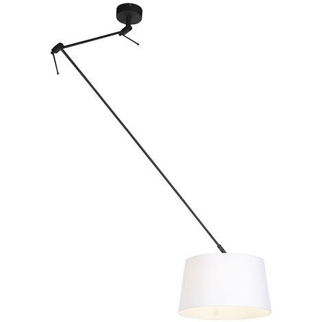 QAZQA Rústico Lámpara colgante con pantalla de lino blanco 35 cm - Blitz I negro Lino /Acero Cilíndra /Alargada /Redonda Adecuado para LED Max. 1 x 60 Watt