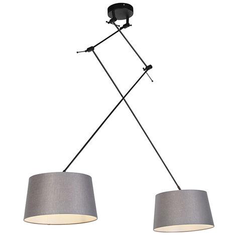 QAZQA Rústico Lámpara colgante con pantalla de lino gris oscuro 35 cm - Blitz I negro Lino /Acero Cilíndra /Alargada /Redonda Adecuado para LED Max. 1 x 60 Watt