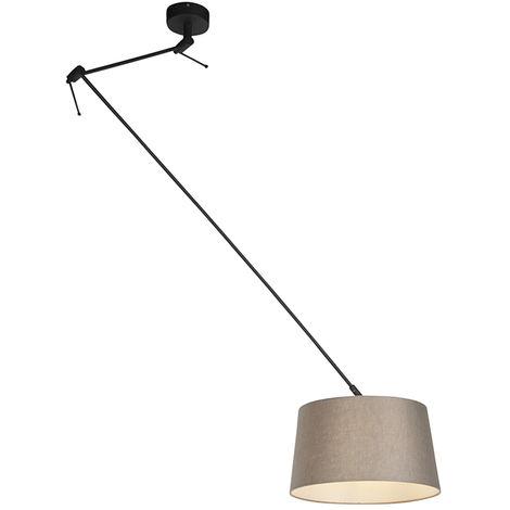 QAZQA Rústico Lámpara colgante con pantalla de lino gris topo 35 cm - Blitz I negro Lino /Acero Cilíndra /Alargada /Redonda Adecuado para LED Max. 1 x Watt