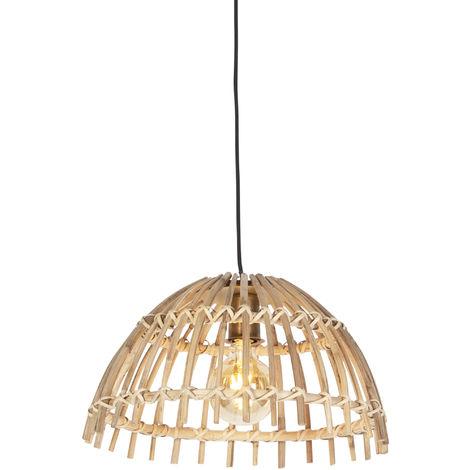 QAZQA Rústico Lámpara colgante nacional bambú 42 cm - Bastón Magna Bamboo /Acero Redonda Adecuado para LED Max. 1 x 25 Watt