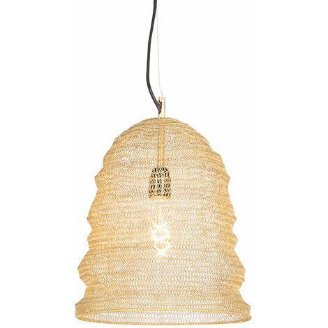 QAZQA Rústico Lámpara colgante oriental dorada - NIDUM Garza Acero Redonda Adecuado para LED Max. 1 x 25 Watt