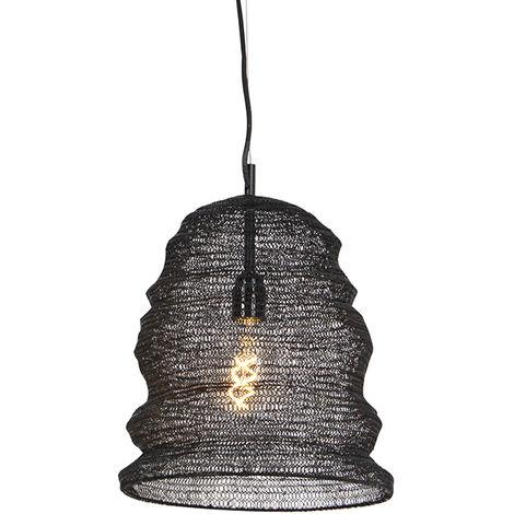 QAZQA Rústico Lámpara colgante oriental negra - NIDUM Garza Acero Redonda Adecuado para LED Max. 1 x 25 Watt