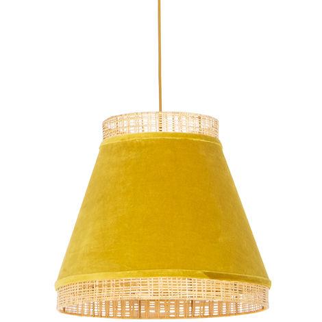 QAZQA Rústico Lámpara colgante rural de terciopelo amarillo con caña 45 cm - Volantes Can Acero /Ratán /Textil Alargada /Redonda Adecuado para LED Max. 1 x Watt