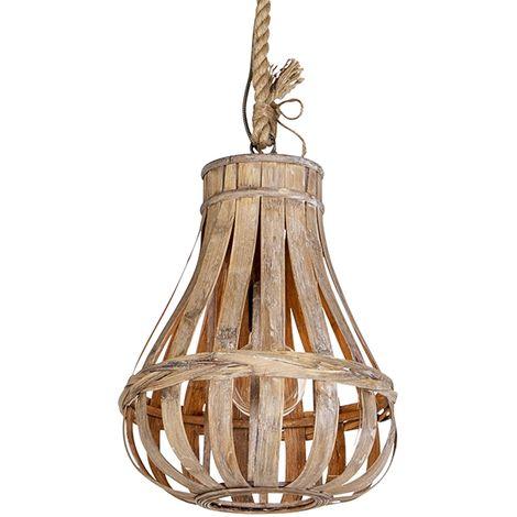 QAZQA rústico Lámpara colgante rústica madera con cuerda 34cm - EXCALIBUR / Redonda Adecuado para LED Max. 1 x Watt