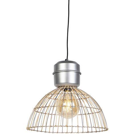 QAZQA rústico Lámpara colgante rústica mimbre acero 40cm - MAGNA Rattan Metálica /Bamboo Redonda Adecuado para LED Max. 1 x 40 Watt