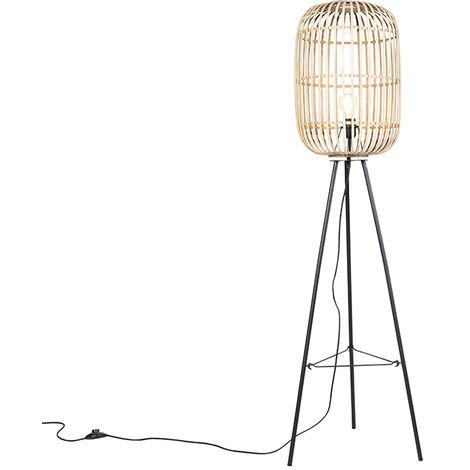 QAZQA Rústico Lámpara colgante rústica mimbre - MANILA Ratán /Acero Alargada /Redonda Adecuado para LED Max. 1 x 60 Watt