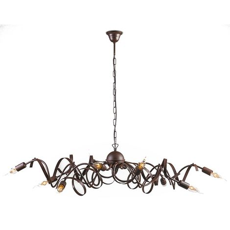 QAZQA rústico Lámpara colgante rústica óxido - RICCIOLO Metálica Ovalada /Orgánica Adecuado para LED Max. 10 x 40 Watt