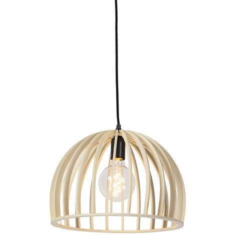 QAZQA rústico Lámpara colgante rústica redonda madera 35cm - TWAIN Redonda Adecuado para LED Max. 1 x 40 Watt