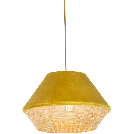 QAZQA Rústico Lámpara colgante rústica terciopelo amarillo mimbre 45x28cm - FRILLS CAN Ratán /Acero /Textil Alargada /Redonda Adecuado para LED Max. 1 x 25 Watt