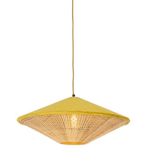 QAZQA Rústico Lámpara colgante rústica terciopelo amarillo mimbre 60cm - FRILLS CAN Ratán /Acero /Textil Alargada /Redonda Adecuado para LED Max. 1 x 25 Watt