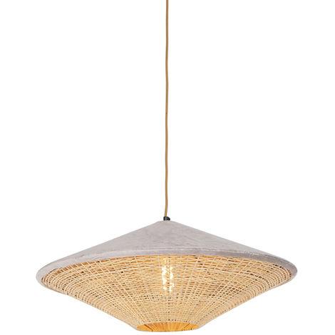 QAZQA Rústico Lámpara colgante rústica terciopelo beige mimbre 60cm - FRILLS CAN Ratán /Acero /Textil Alargada /Redonda Adecuado para LED Max. 1 x 25 Watt