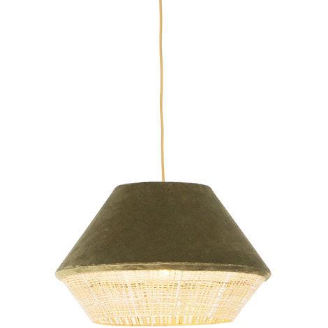 QAZQA Rústico Lámpara colgante rústica terciopelo verde mimbre 45x28cm - FRILLS CAN Ratán /Acero /Textil Alargada /Redonda Adecuado para LED Max. 1 x 25 Watt