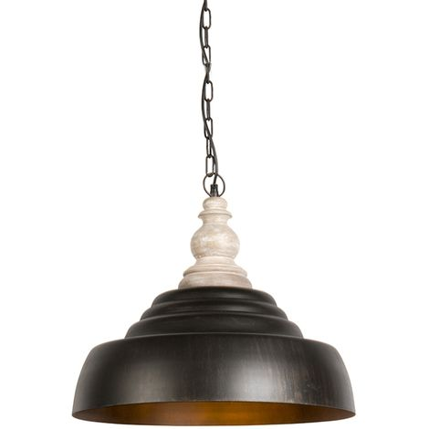 QAZQA rústico Lámpara colgante TRINA óxido Madera /Acero Redonda Adecuado para LED Max. 1 x 60 Watt