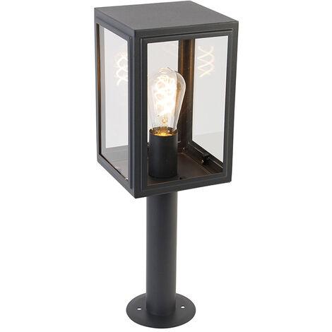 QAZQA rústico Lámpara de exterior poste gris 50 cm IP44 - Sutton Vidrio /Acero inoxidable Cubo /Cuadrada Adecuado para LED Max. 1 x 100 Watt
