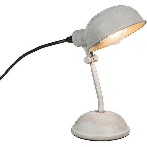 QAZQA rústico Lámpara de mesa rústica gris orientable - GRABE Metálica Esfera Adecuado para LED Max. 1 x 15 Watt