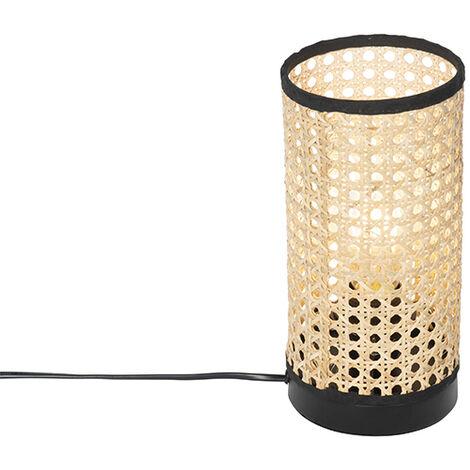 QAZQA rústico Lámpara de mesa rústica ratán - KATA /Acero Cilíndra Adecuado para LED Max. 1 x 25 Watt