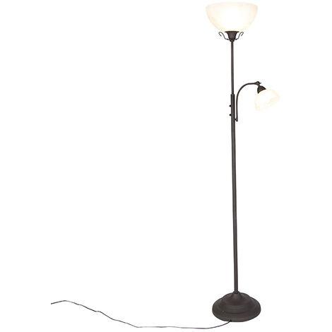 QAZQA rústico Lámpara de pie clásica marrón flexo regulador (NO APTA LED) - DALLAS Vidrio /Acero Redonda /Alargada Max. 1 x 100 Watt