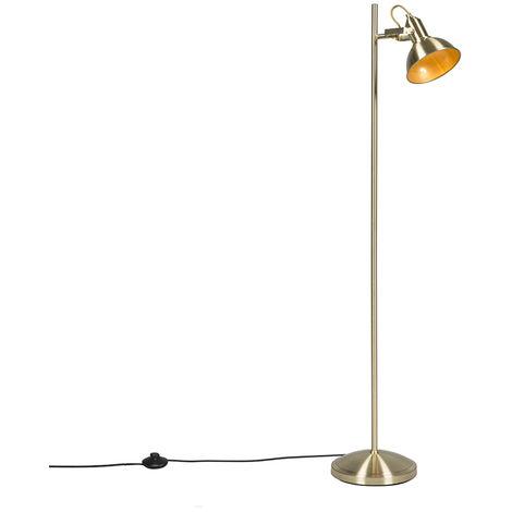 QAZQA rústico Lámpara de pie industrial oro / latón 1 luz - Tommy Acero Alargada Adecuado para LED Max. 1 x 40 Watt