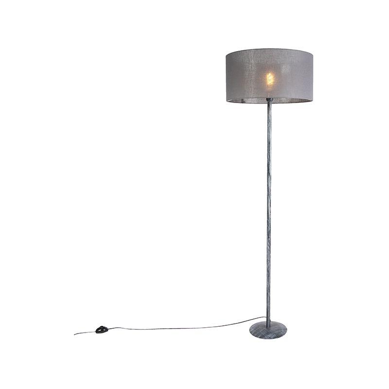 Watt de gris moderna rústico 50cm gris Acero Alargada x pie con envejecido LED Max1 QAZQA Lámpara pantalla Adecuado SIMPLO Plástico oscuro para bfyY6gI7v