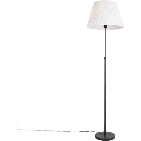 QAZQA Rústico Lámpara de pie negra pantalla plisada crema 45cm ajustable - PARTE Acero /Textil Cilíndra /Alargada /Redonda Adecuado para LED Max. 1 x 60 Watt