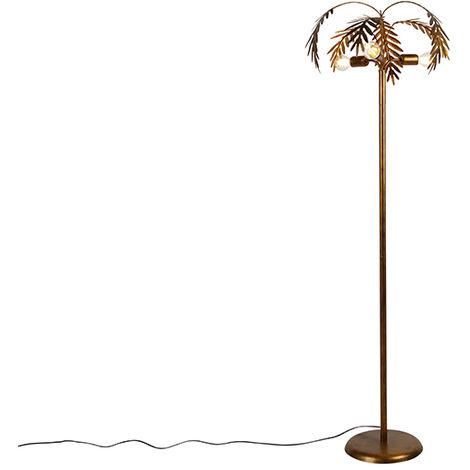 QAZQA rústico Lámpara de pie vintage dorada 3-luces - BOTANICA Acero Alargada Adecuado para LED Max. 3 x 60 Watt