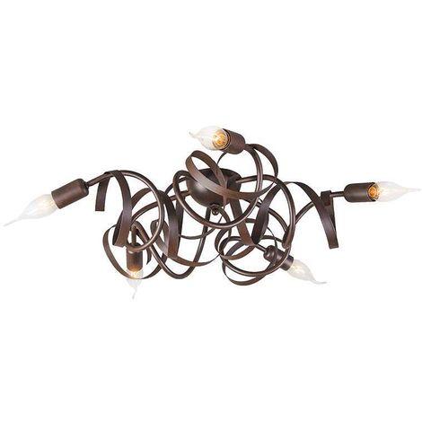 QAZQA rústico Plafón rústico marrón - RICCIOLO 5 Acero Redonda /Orgánica Adecuado para LED Max. 5 x 40 Watt