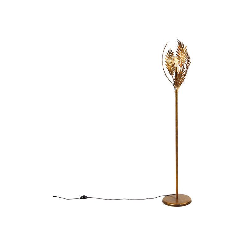 QAZQA rústico Lámpara de pie vintage dorado - BOTANICA Acero Alargada Adecuado para LED Max. 1 x 60 Watt