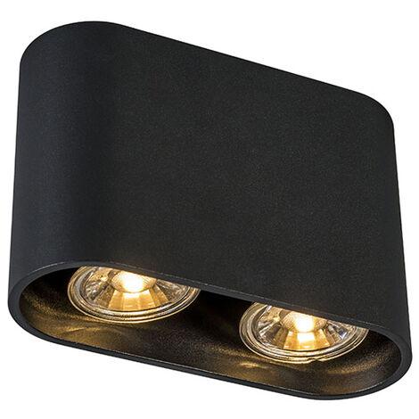 QAZQA Set 2 focos modernos negros - RONDA Duo Adecuado para LED Max. x Watt