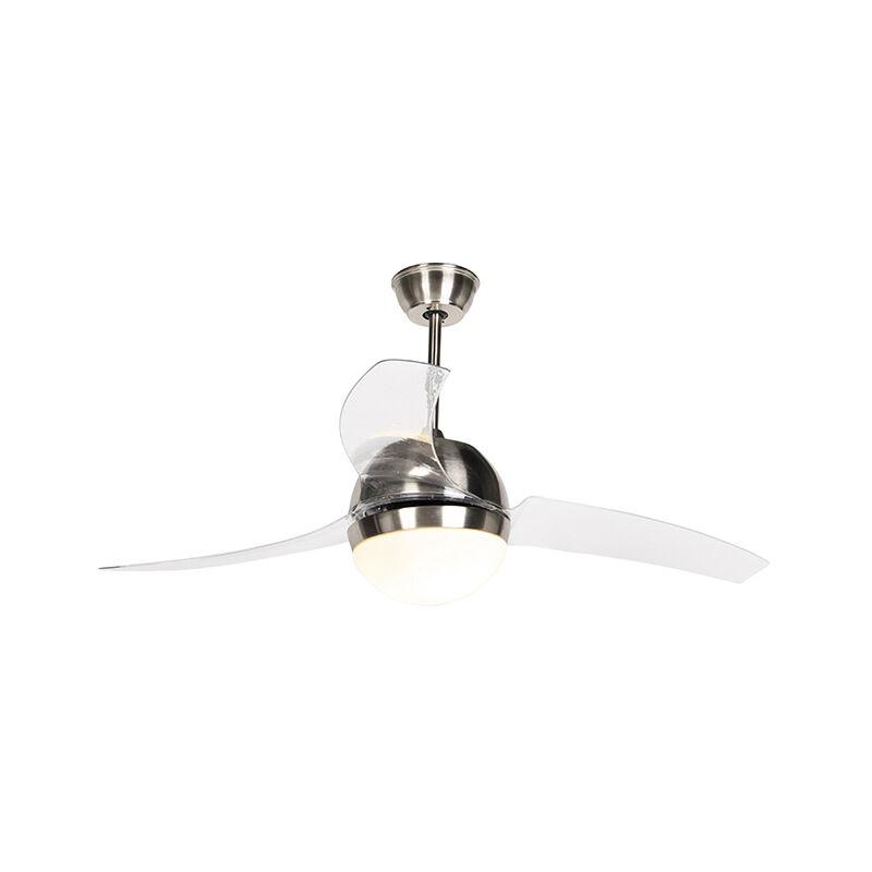 Ventilatori da soffitto bora - Moderno - Plastico,Acciaio - Trasparente/Acciaio - Tondo Max. 2 x Watt - Qazqa
