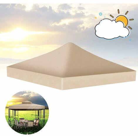 Qdreclod 3 * 3m Toile de Toit de Rechange Pavillon Tonnelle Tente, Toiture de Rechange pour Pavillon, Abris Imperméables de Tente de Soleil de Patio de Jardin Extérieur