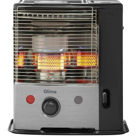 Qlima Calefactor de parafina portátil plateado y negro R8128 SC - Plateado