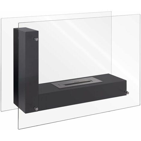 Qlima L-Shaped Ethanol Fireplace 80x31x60 cm FFB 8060 - Black