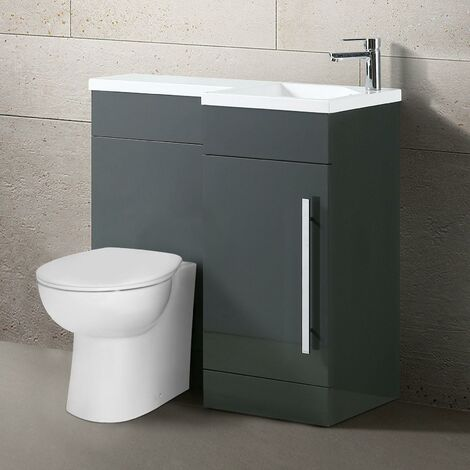 Qovane 900mm L Shape Right Hand Bathroom Grey Vanity Basin Back To Wall Toilet