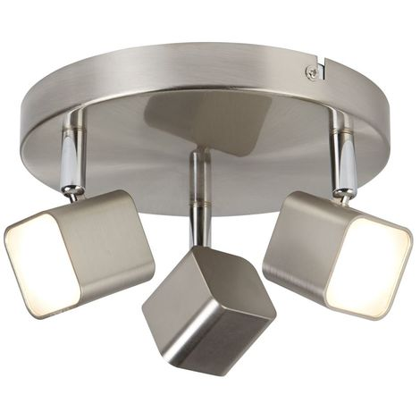 QUAD 3 LIGHT LED SQUARE HEAD SPOT PLATE, SATIN SILVER