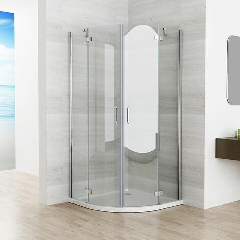 Quadrant Frameless 6mm Pivot Door Shower Enclosure Easyclean Glass 900x900 with Tray