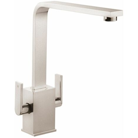 Quadrant Kitchen Sink Basin Dual Twin Lever Mono Mixer Tap Swivel Spout Brushed