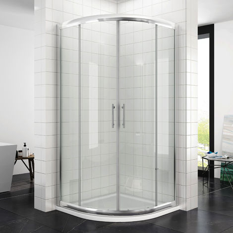Quadrant Shower Cubicle Enclosure 800 x 800 mm Glass Sliding Door with Stone Tray + Waste
