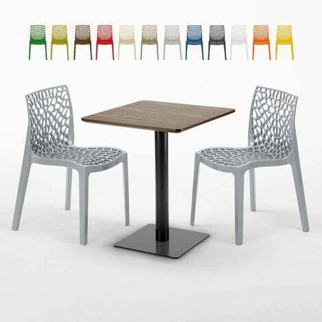 Quadratisch Tisch Holzeffekt und Schwarz Stahlfuß 60x60 Cm Mit 2 Bunten Stühlen GRUVYER KISS