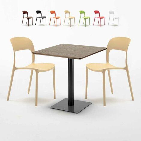 Quadratisch Tisch Holzeffekt Und Schwarz Stahlfuß 60x60 Cm Mit 2