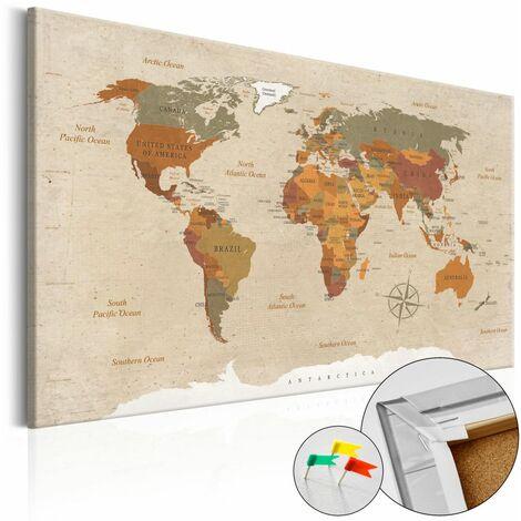 Quadri di sughero Beige Chic Cork Map cm 120x80 Artgeist