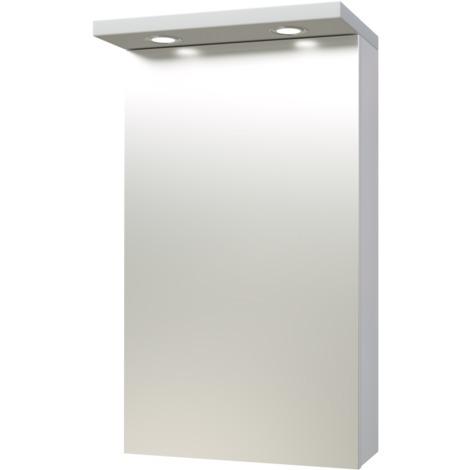 Quadro Bad Spiegelschrank 40 cm Zweiseitig verspiegelt inkl. LED Leuchten  und Soft-Close IP44 Weiss Hochglanz Badezimmer Schrank Spiegel