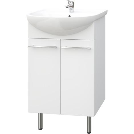 Quadro Bad Waschtisch Unterschrank 50 cm Weiss Hochglanz 2-t|rig ...
