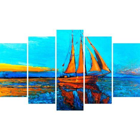 Quadro Boat - Barca - Paesaggi - per Soggiorno, Camera - Multicolore, 20 x 3 x 60 cm