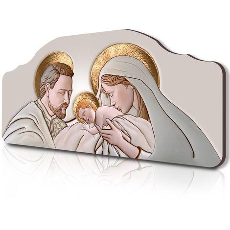 Quadro Capezzale Sacro 42x92 Cm Sacra famiglia Su Tavola Lavorata Pannello Oro