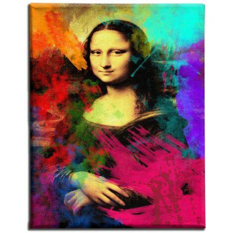 Quadro da Parete - Gioconda con Macchie di Colore - per Soggiorno, Camera - Multicolore, 45 x 3 x 70 cm