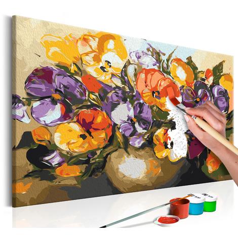 Quadro fai da te - Viole del pensiero nel vaso60x40 cm
