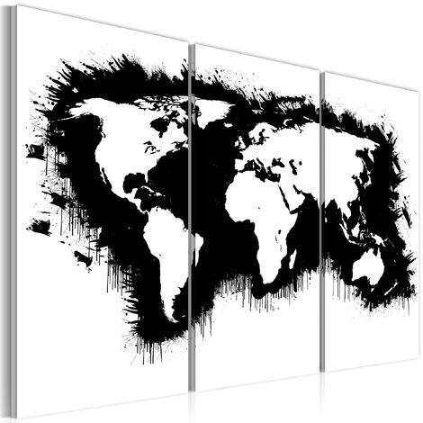 514eb325ce Quadro - Mappa Del Mondo Monocromatica Trittico Erroi