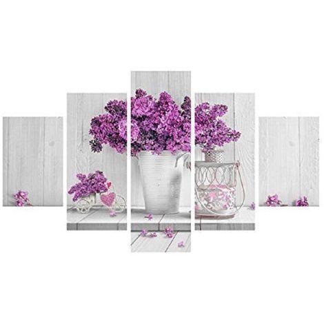 Quadro Moderno 5 Pezzi In Legno Vogue 48x85 Cm Purple Flowers