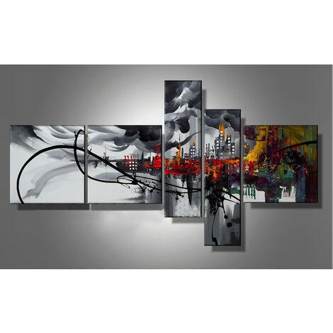 Quadro Moderno Dipinto a Mano su Tela Astratto 5 Pannelli Zaghi N25 Varie Misure