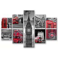 Quadro Moderno Multipannello Vogue 48x85 Cartolina Di Londra
